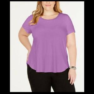 Alfani Women's 1x Plus Size Top Satin-Trim T-Shirt